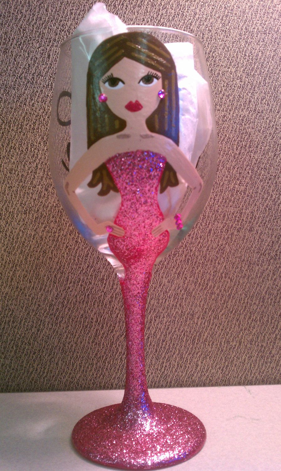 Sexy lady painted wine glasses