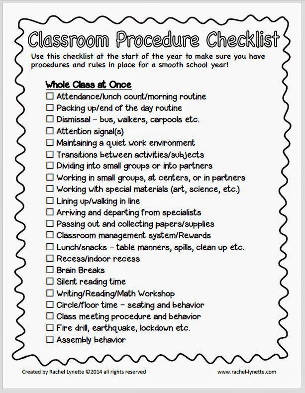 classroom procedure tips and a free checklist back to school rh pinterest com