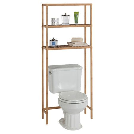 With 2 slatted tiers, this eco-friendly over-toilet storage shelf is the perfect spot to stow fluffy towels and a basket of guest-worthy soaps.