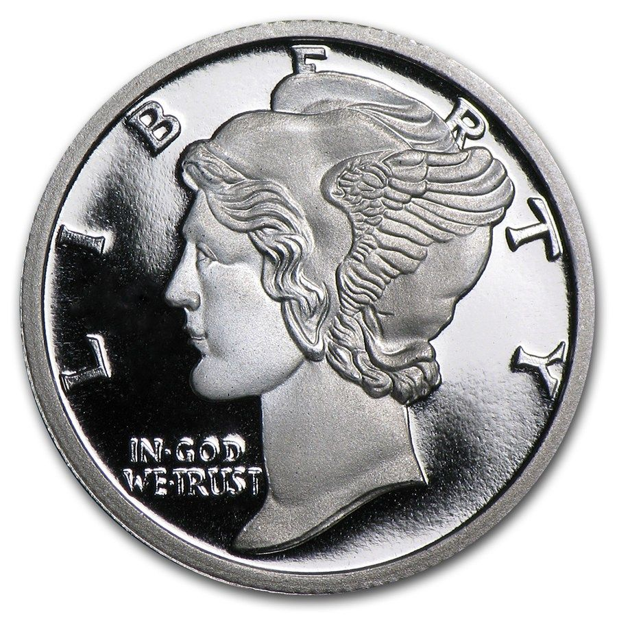 1 10 Oz Silver Round Apmex Mercury Dime Buy Silver Online Silver Rounds Fine Silver