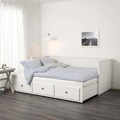 Lit Banquette 2 Places Structure Blanc 80x200 Cm Hemnes En 2020 Canape Chambre Lit Ikea Et Canape Confortable