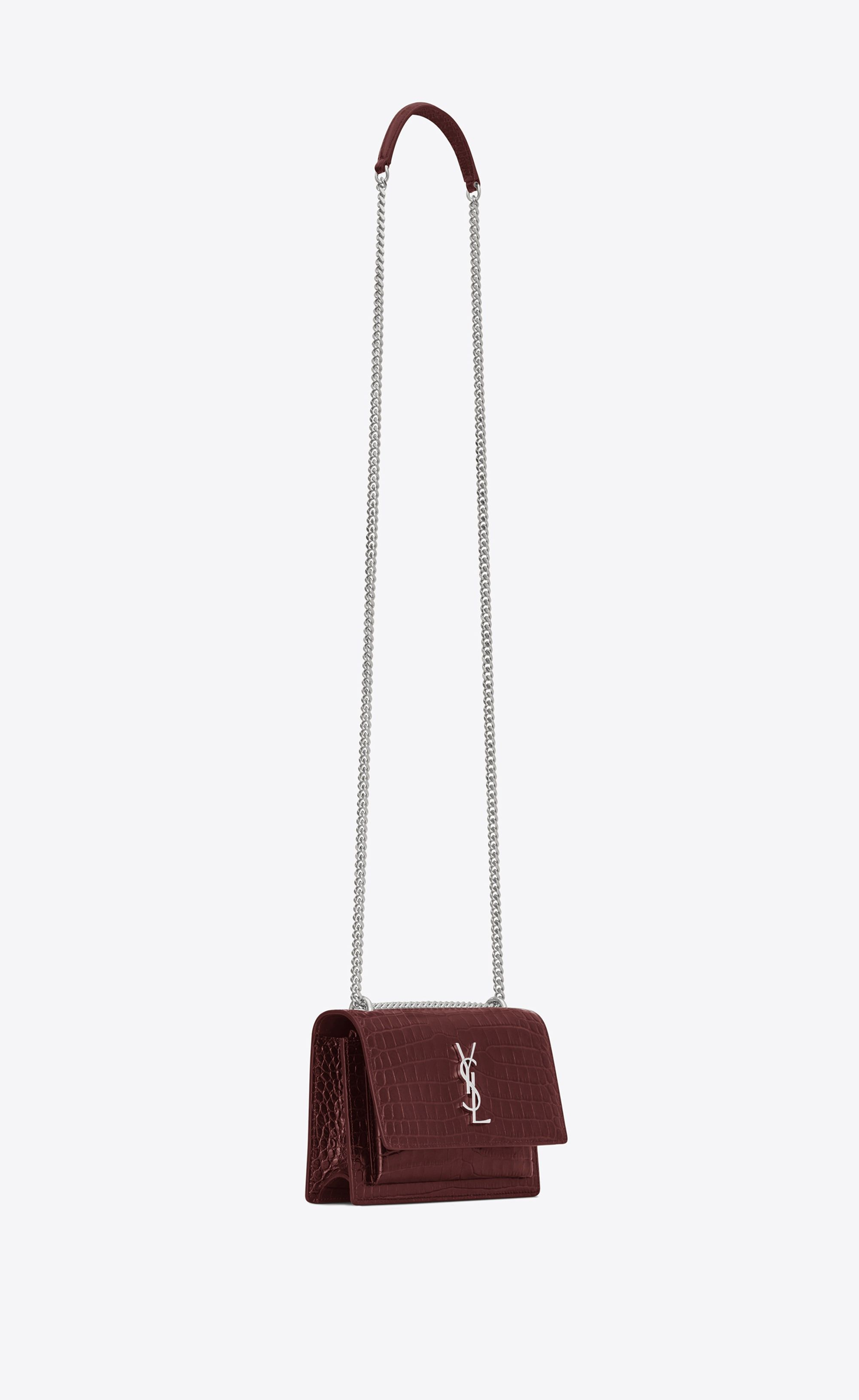52697927e1c  Saint Laurent - Sunset Chain Wallet in dark red crocodile embossed shiny  leather ( 1
