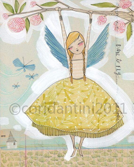 whimsical watercolor painting of a girl with wings, hanging from branch  - 8 x 10 - archival and limited edition print by cori dantini