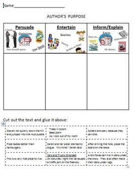 Printables Authors Purpose Worksheets 1000 images about authors purpose on pinterest student activities and poster