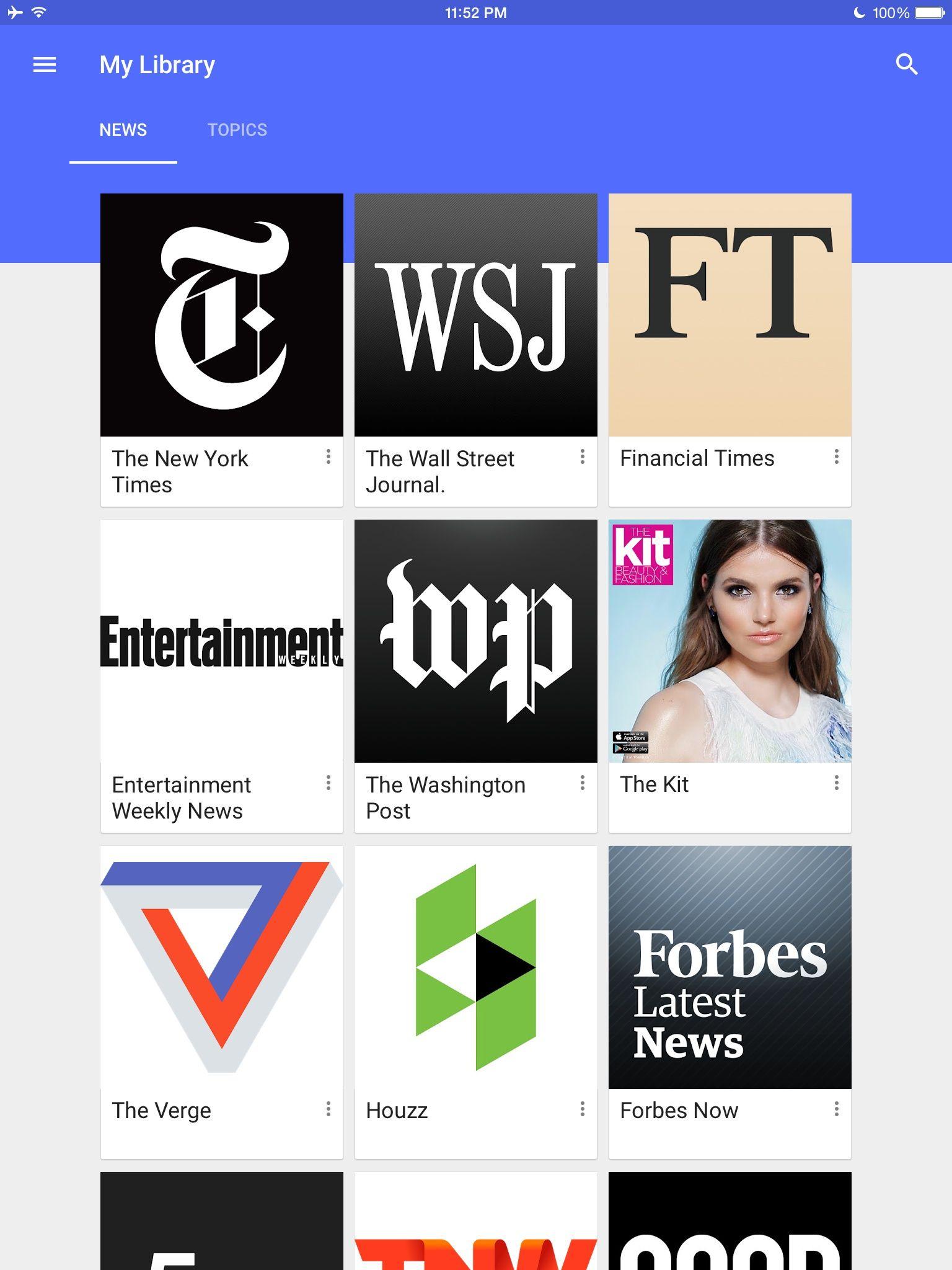 Google Play Newsstand Design Patterns - Pttrns   WTW Nav