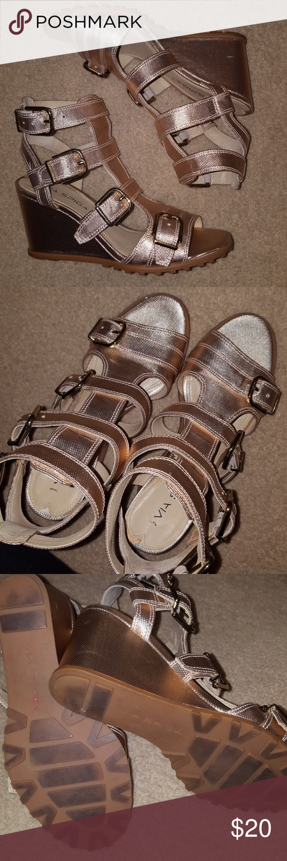 Rose gold gladiator wedge! Gorgeous! Worn twice! Great with jeans,  dresses,  shorts,  skirts! Everything! via spiga Shoes Wedges