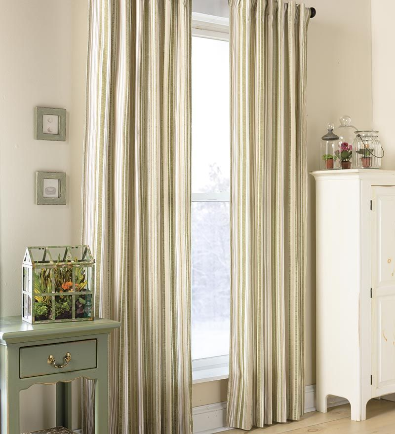 Ticking Stripe Double Lined Curtains With Rod Pocket Plow Hearth Thick Cotton 3 Ways To Hang Ticking Stripe Curtains Striped Curtains Lined Curtains