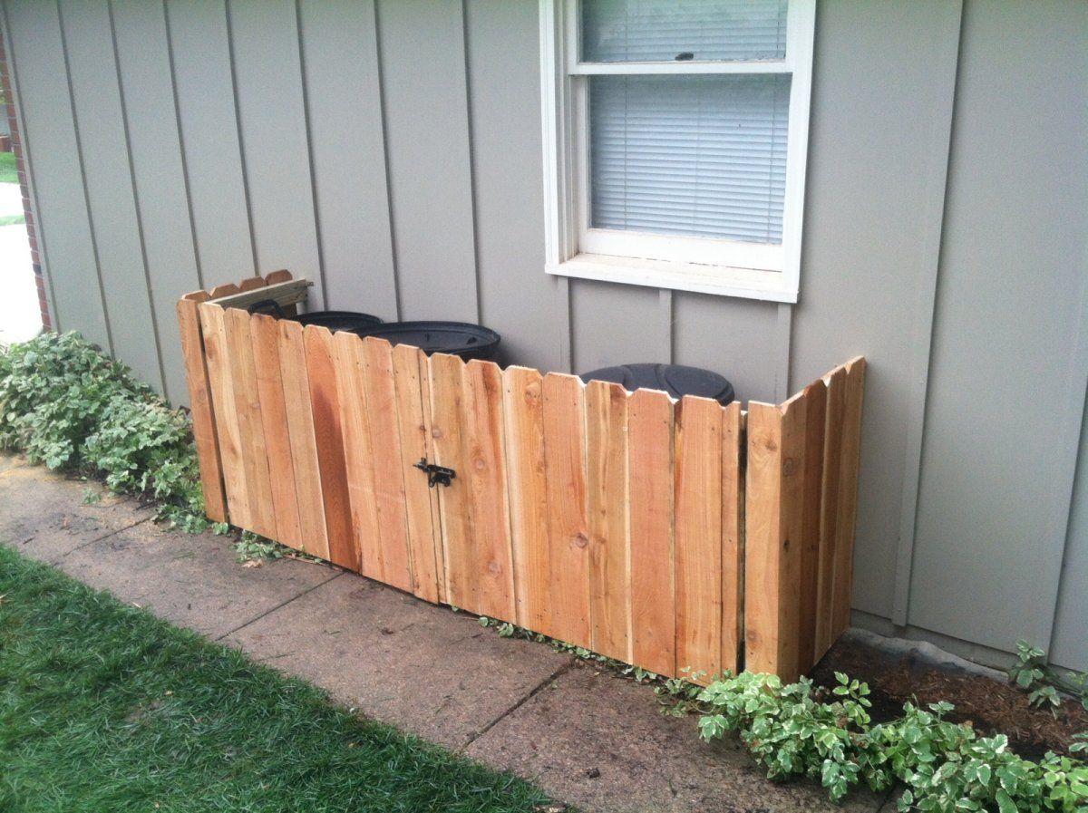 Minimalist Backyard With Diy Garbage Can Storage Ideas Round Black