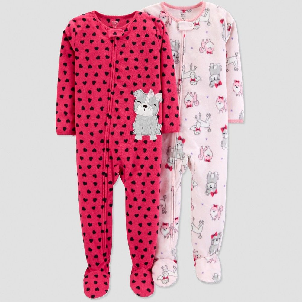 d80ac6068 Toddler Girls  Fleece Heart Dogs Pajama Set - Just One You made by ...