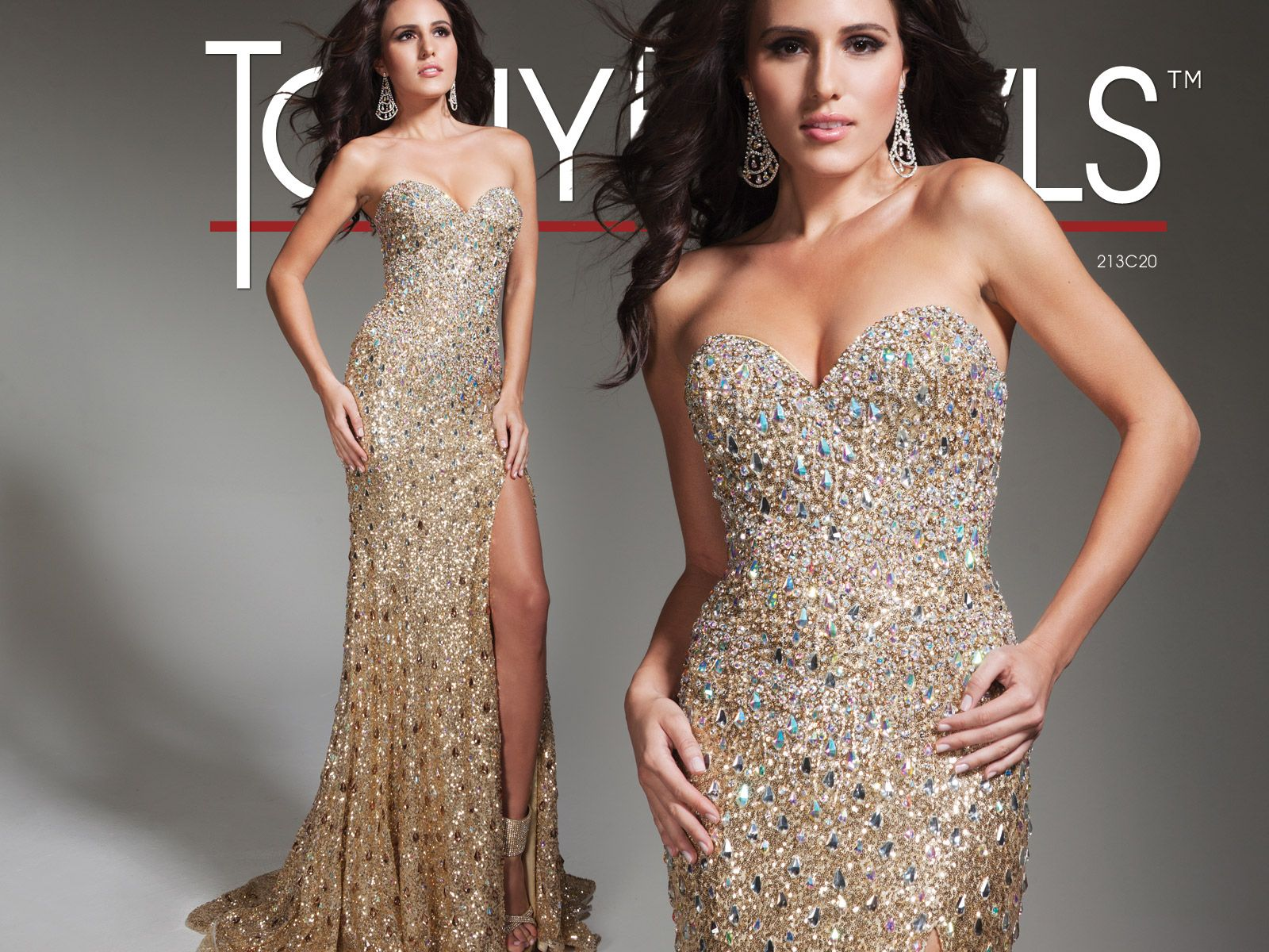 Strapless allover sequined sheath pageant dress with jewel hand ...