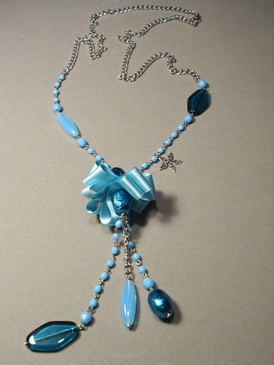 ba4f96407200 REF.11.101 Azul-Turquesa.Collar largo montado con bolas y piezas de ...