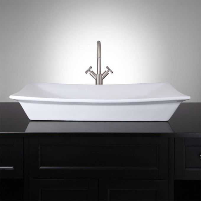 Create A Harmonious Focal Point In Your Bathroom With The Altair Vessel Sink,  Crafted Of Durable Porcelain. This Modern, Rectangular Sink Features  Slightly ...