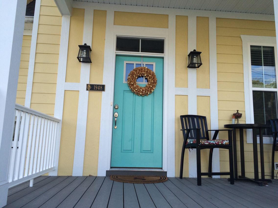 Aqua door, yellow house. Paint colors: SW cooled blue, SW Peace ...