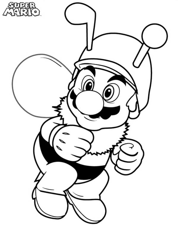 Super Mario Brothers Wearing Bee Costume Coloring Page Color Luna Super Mario Coloring Pages Mario Coloring Pages Cartoon Coloring Pages