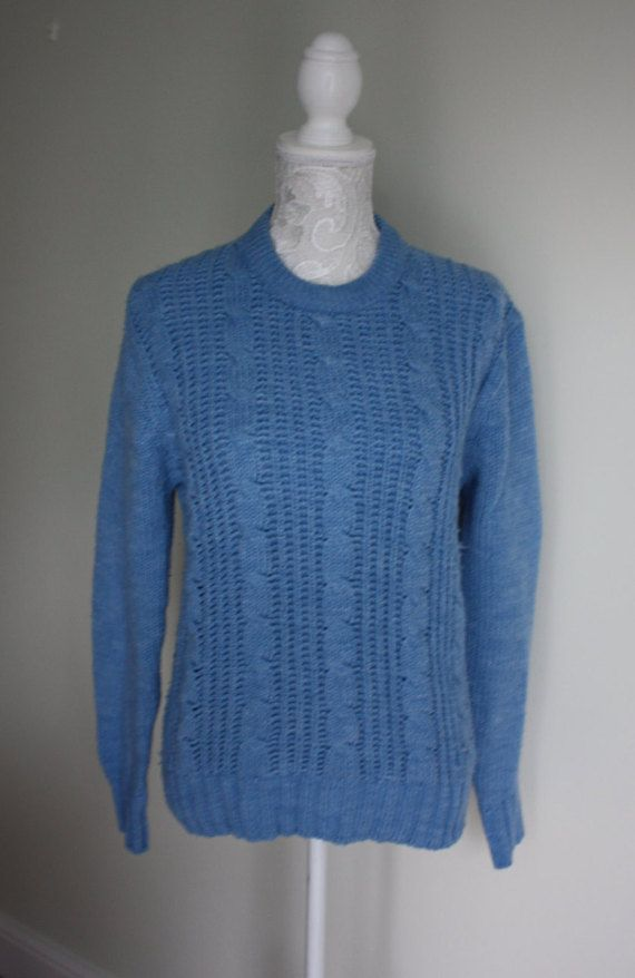 Vintage 1980s baby blue cable knit sweater 80s by GoingAroundAgain