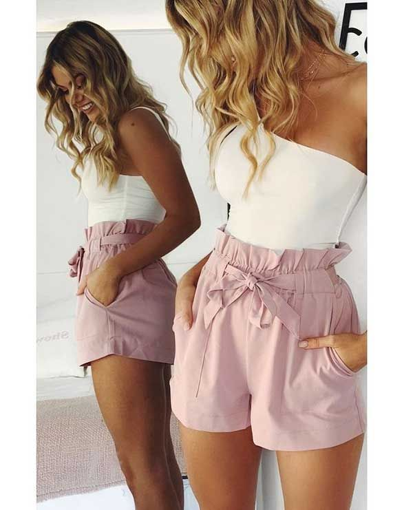 High Waisted Shorts And Tube Top Outfit Tube Top Outfits Simple Summer Outfits Top Outfits