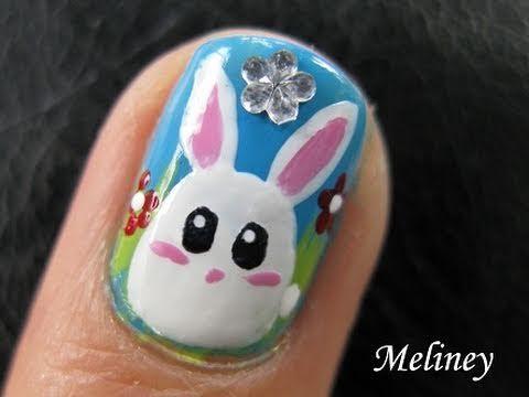 cute animal nails art tutorial easter bun bun bunny white