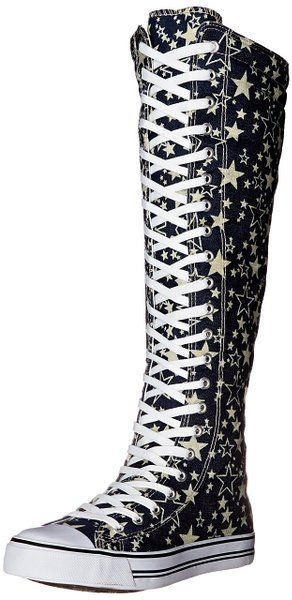 29dd8172777 West Blvd Womens SNEAKER Boots Knee High Lace Up Flat Punk Canvas Skate  Shoes