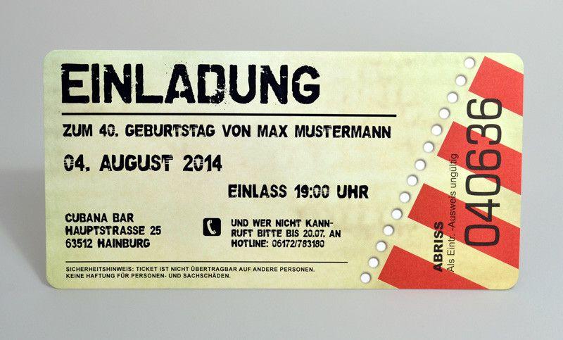 Karte Ticket Einladung Einladungskarten zum Geburtstag als Eintrittskarte