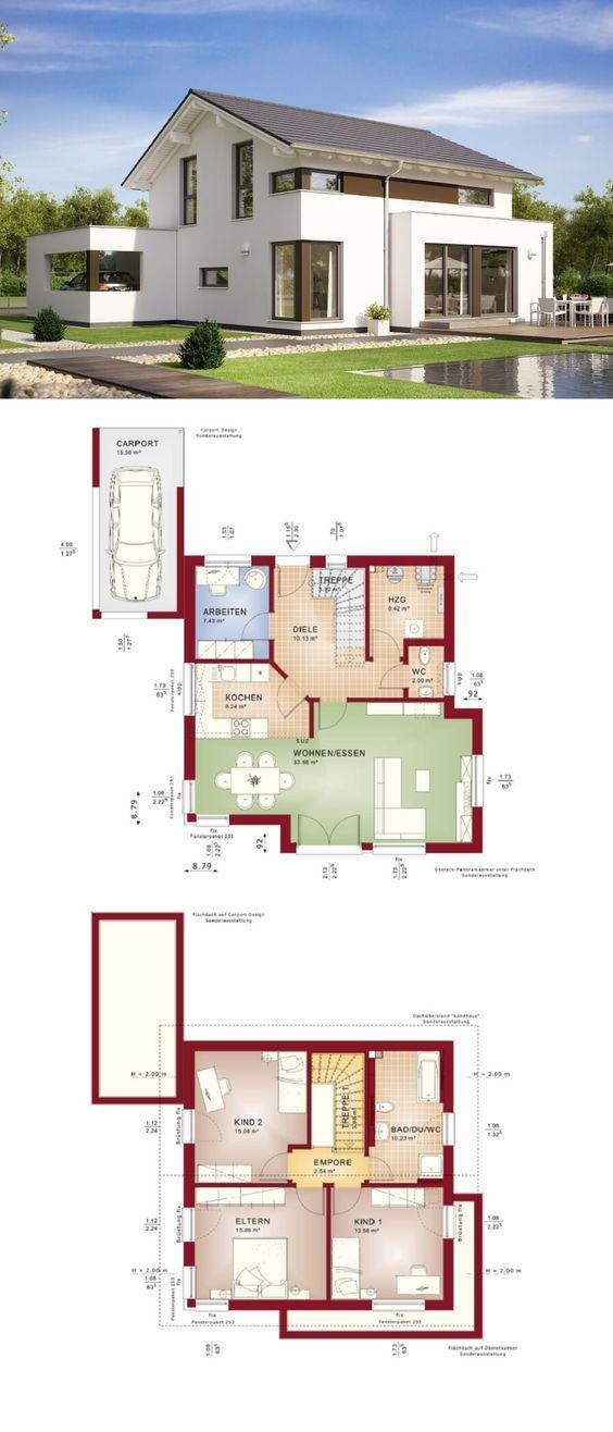 Modernes Design Haus Mit Satteldach Architektur Carport Anbau