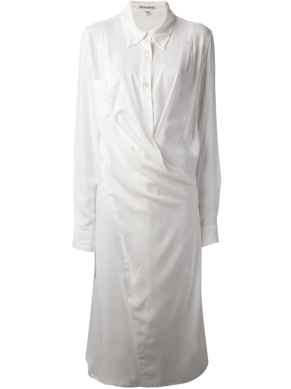 1461241355 Ann Demeulemeester Wrapstyle Shirt Dress in White | Lyst | style ...
