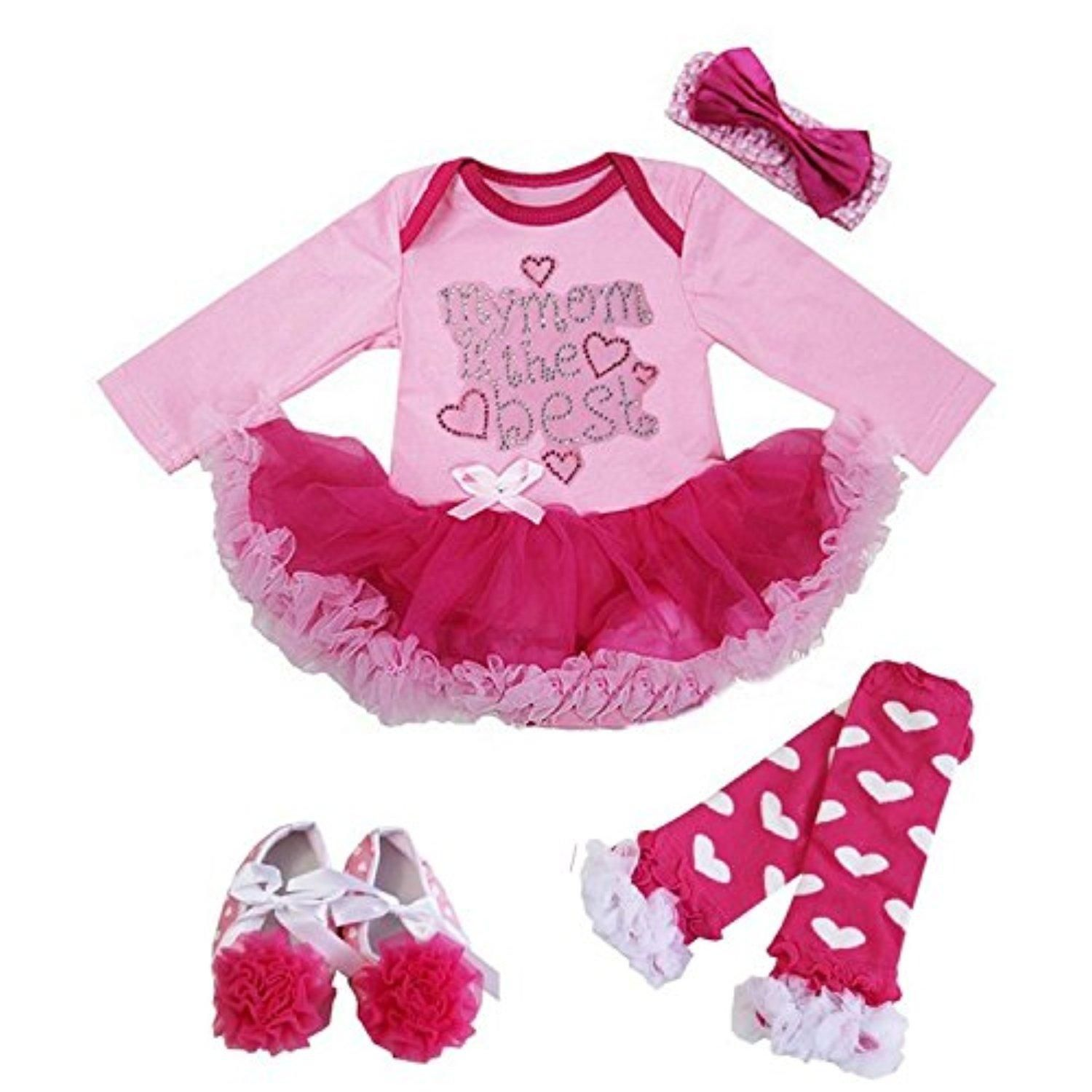 Kirei Sui Baby Rhinestone my mom is the best Long Sleeves Bodysuit Tutu Shoes Warmer X-Large Pink - Brought to you by Avarsha.com
