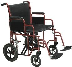 "Bariatric Heavy Duty Transport Wheelchair 22"" seat width, 26.5"" overall width $250"