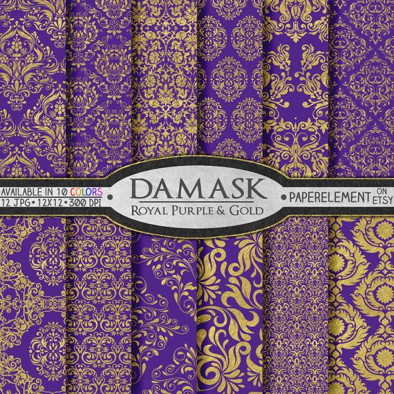 Royal Purple And Gold Scrapbook Paper