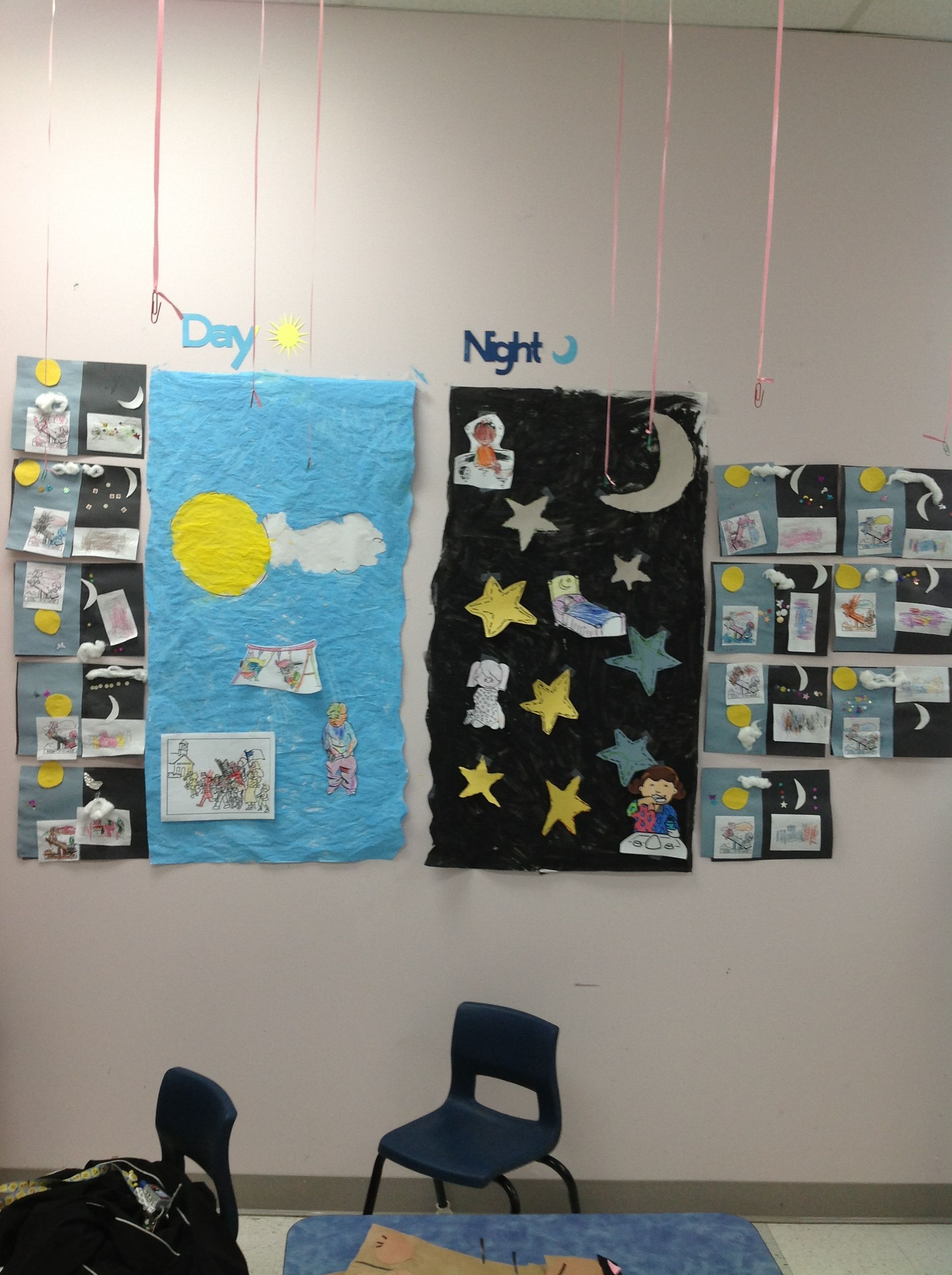 Theme Day And Night Mural Collective Painting Of Day And Night Sky Tracing And Cutting Out