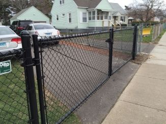 Double Black Coated Chain Link Driveway Gate With Images