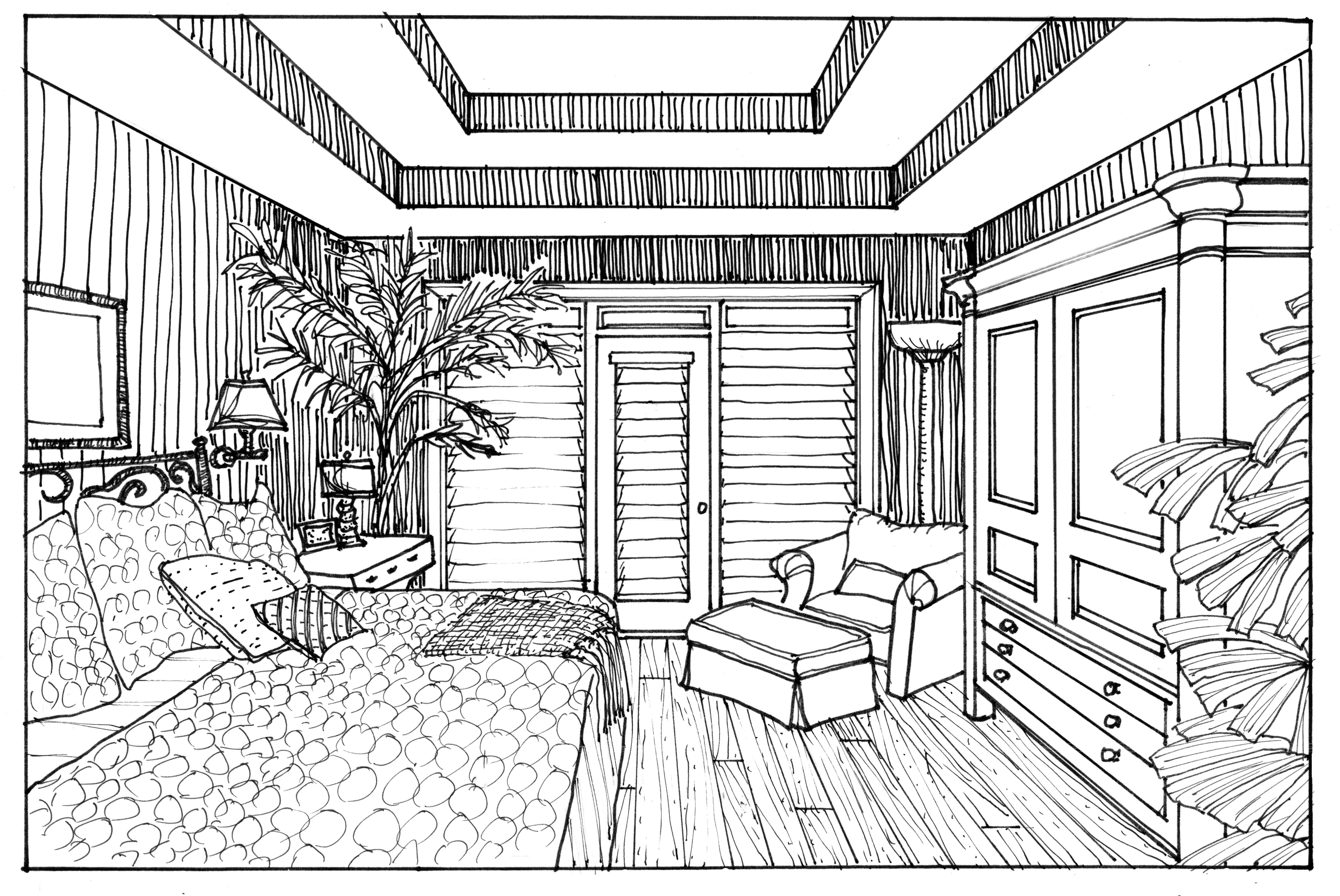 Interior Line Drawing One Point Perspective Drawing Interior