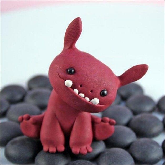 1 x Monster Süßes kleines Monster aus Polymer Clay handgemacht - figuren aus ton selber machen