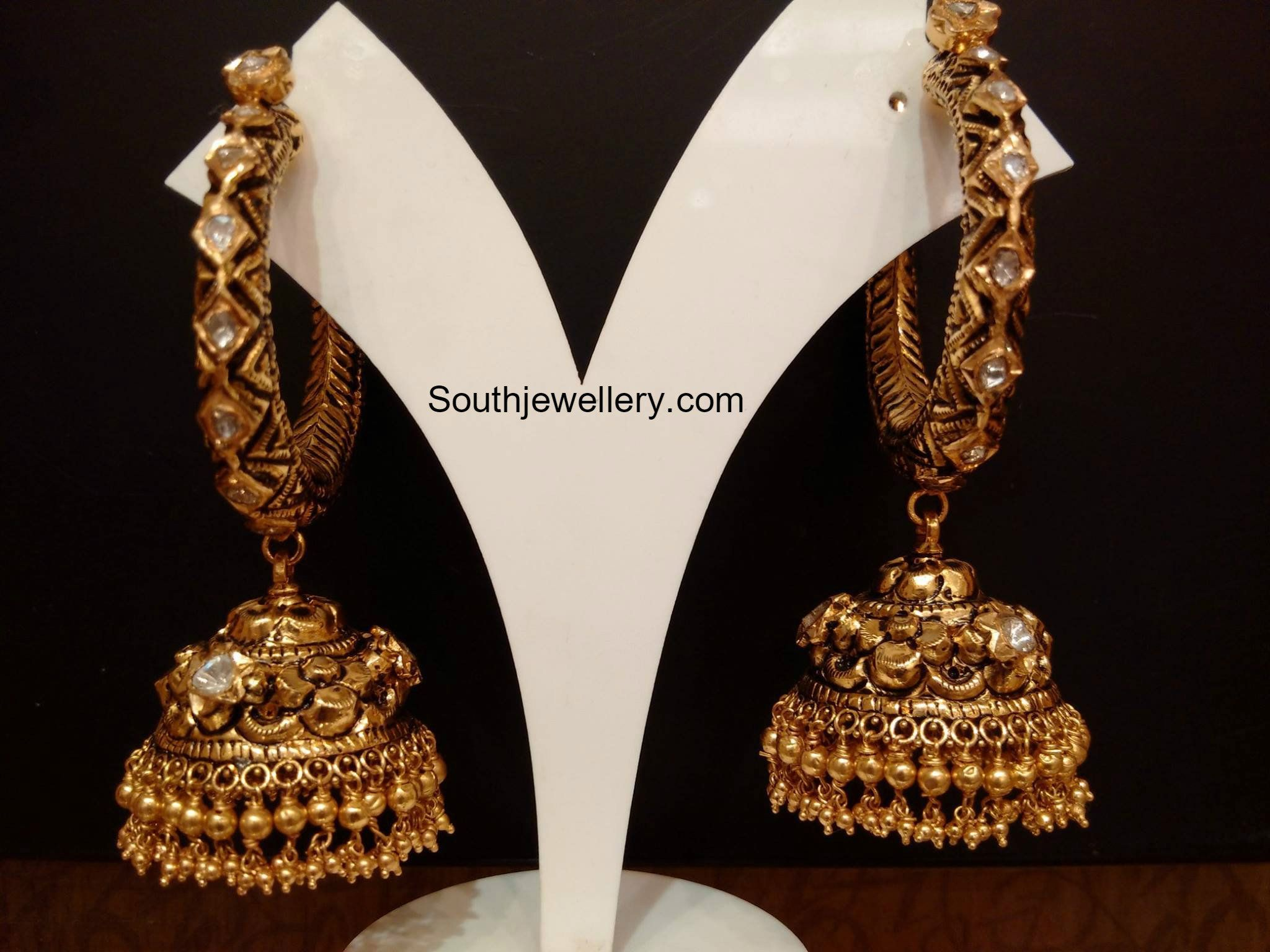 Antique Gold Jhumkas, 22 carat gold jewellery, jhumki designs ...