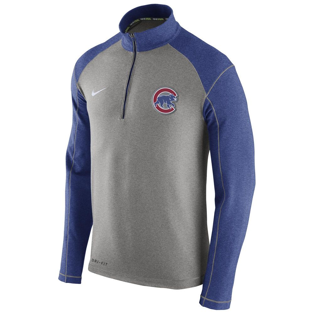 Men's Chicago Cubs Nike Gray/Royal Dri-FIT Touch Fleece Half-Zip ...