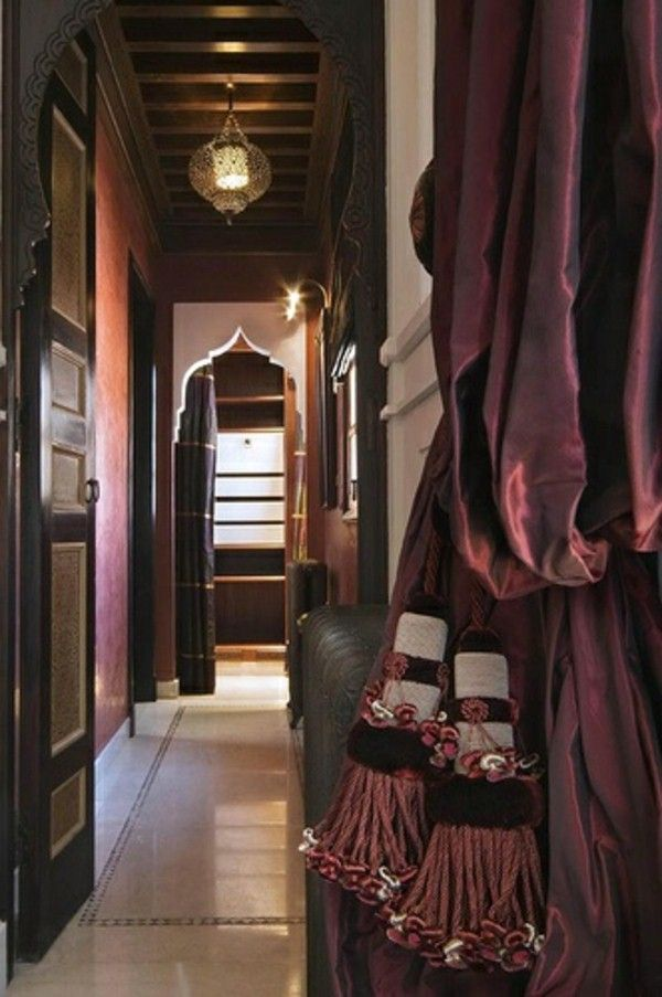 Oriental Curtains Dark Color Exotic Corridor