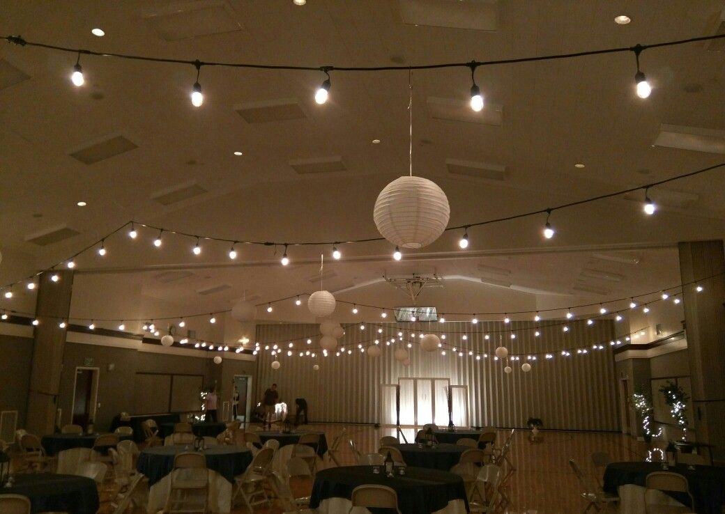 Bistro lights and paper lanterns on lds church gym ceiling wedding bistro lights and paper lanterns on lds church gym ceiling aloadofball Image collections