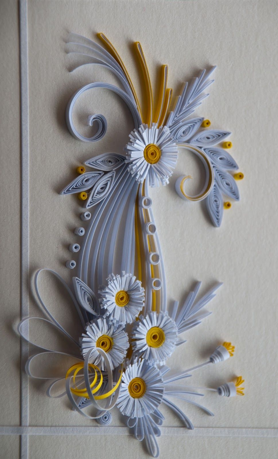 neli: Quilling card flowers - white and yellow 2011/9