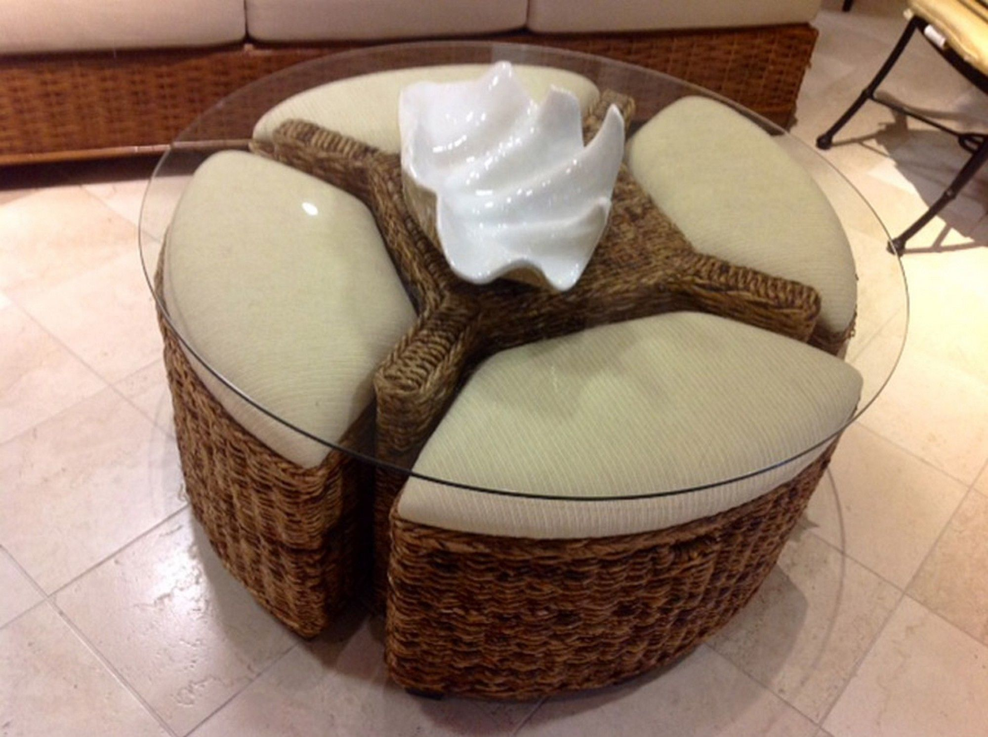 Round Wicker Ottoman Coffee Table sofa Sets for Living Room