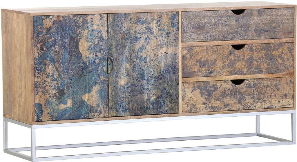 Sideboard Venice Retro Braun Blau Mango 160cm Breit Retro Mango Sideboard