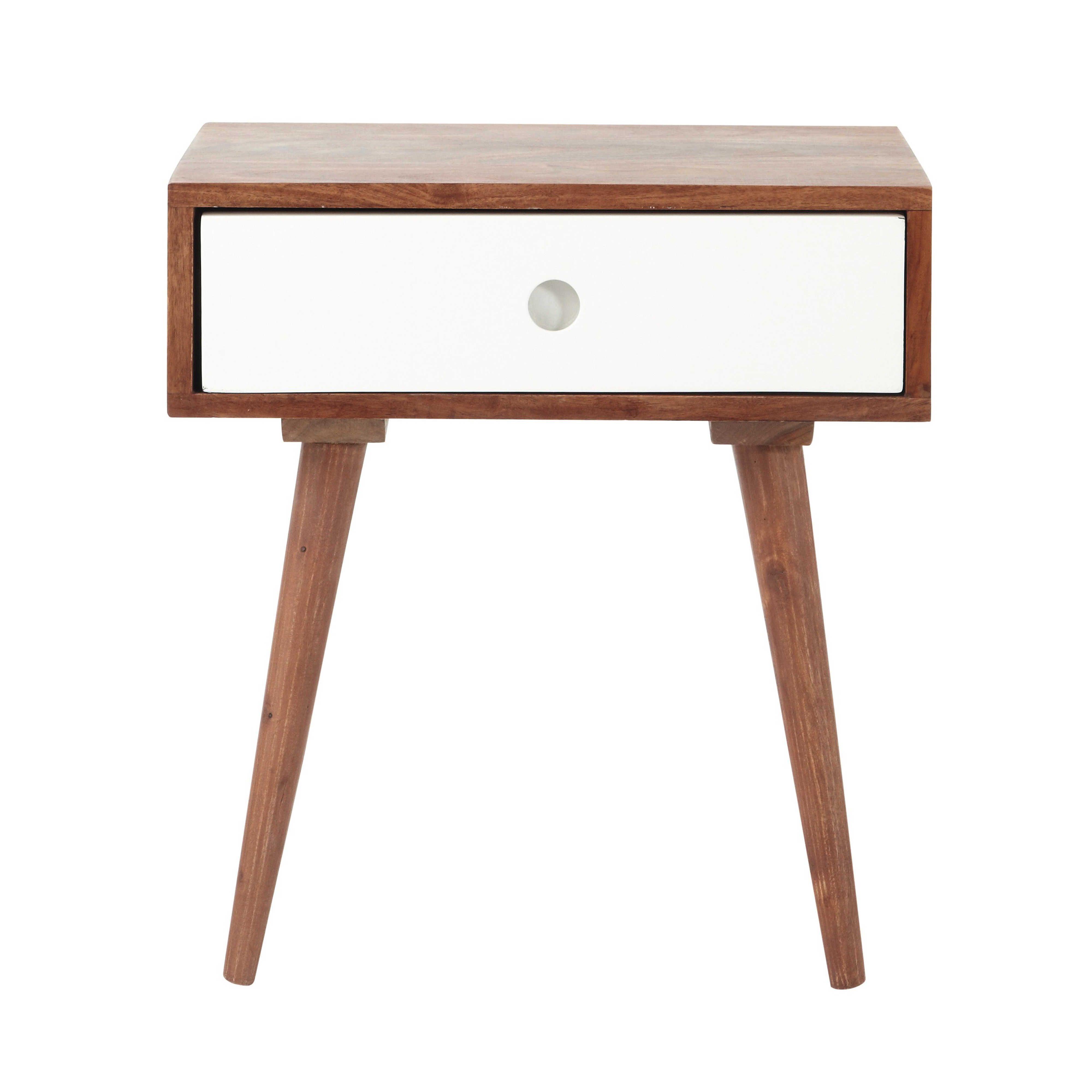 trendy table de chevet vintage avec tiroir en bois de. Black Bedroom Furniture Sets. Home Design Ideas