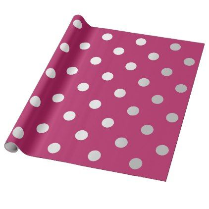 #pink - #Polka Small Dots Raspberry Pink Rose Silver Gray Wrapping Paper