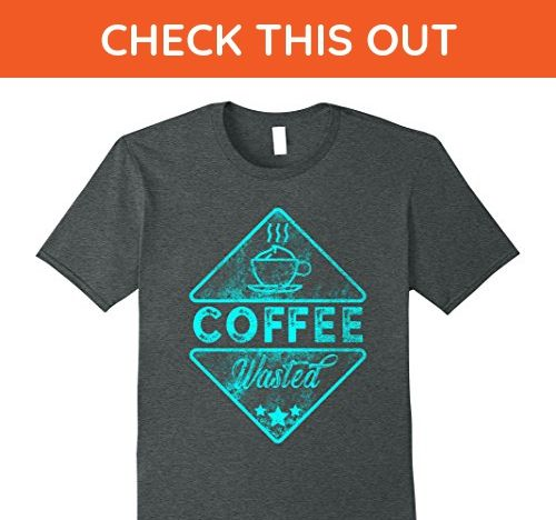 Mens Coffee Wasted Funny Coffee Lover T-Shirt Medium Dark Heather - Food and drink shirts (*Amazon Partner-Link)
