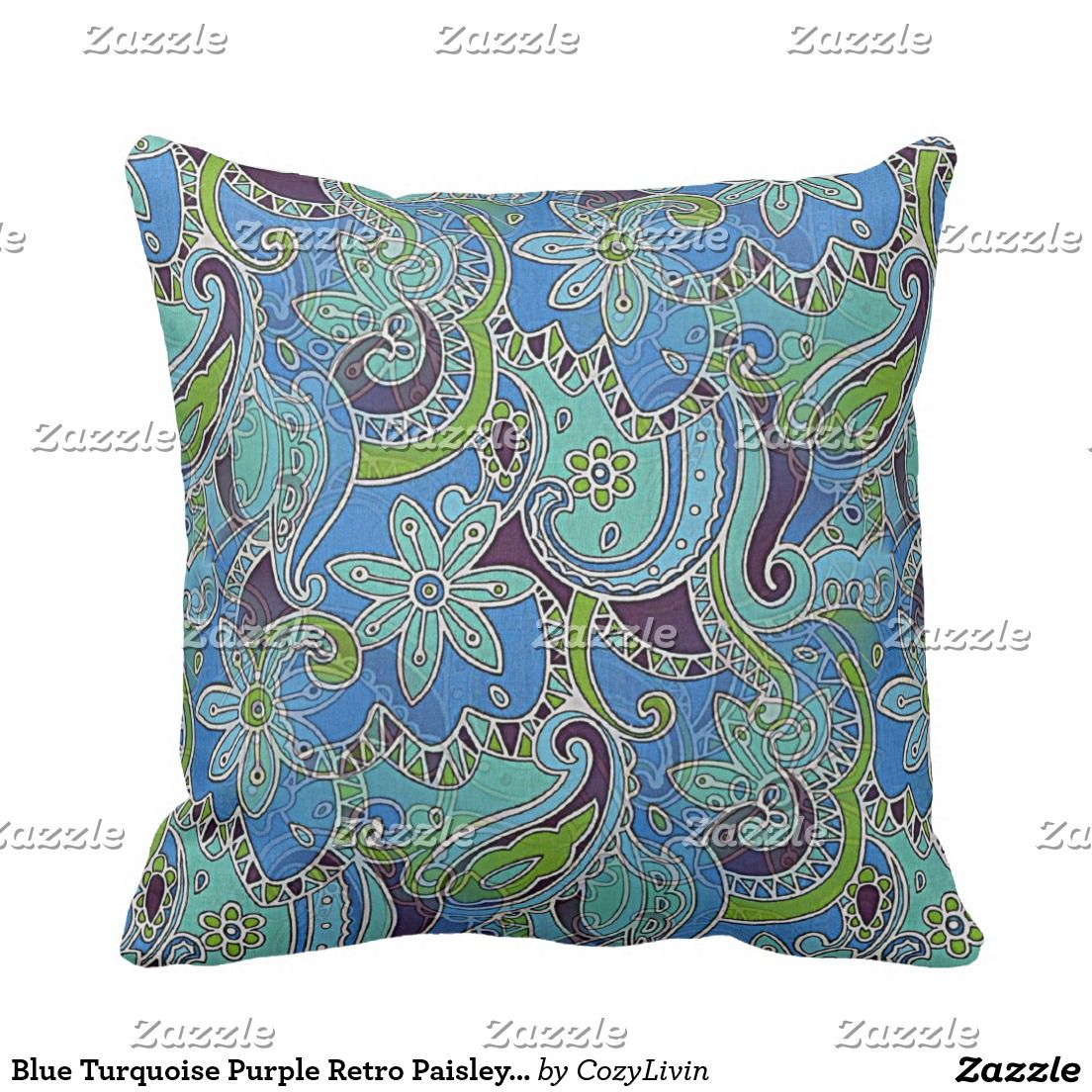 Blue turquoise purple retro paisley floral pattern paint colors