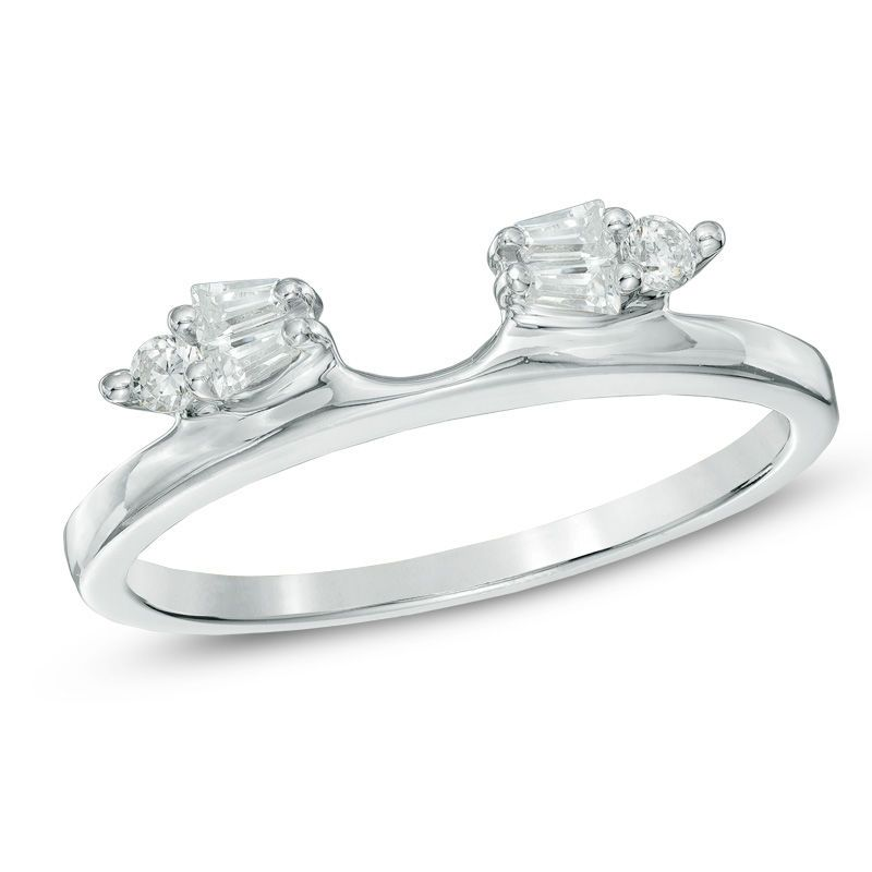 15 ct tw baguette and round diamond solitaire enhancer
