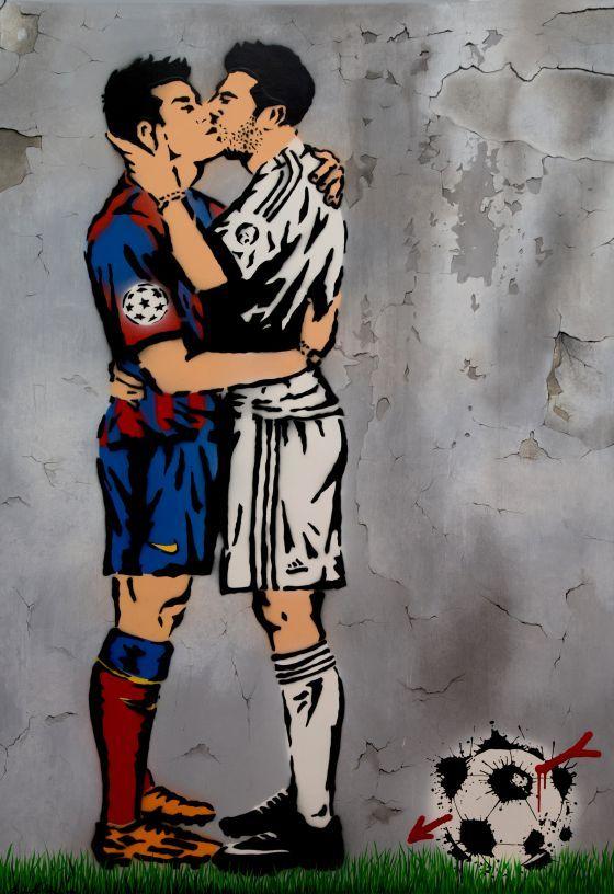 'El Beso', en acrílico y spray. Obra de Antonio de Felipe.