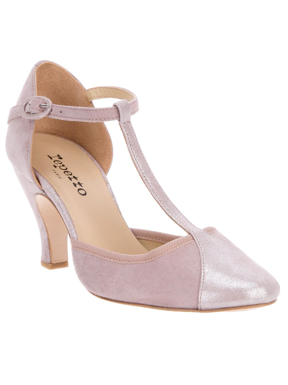 Sugar Pink Leather Sandal From Repetto Featuring A Closed Round Toe T Bar And Front Panel With Shimmer Effect Low Kitten Heel Buckle Fastening