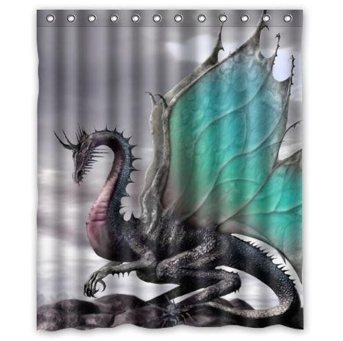 Creative Design Ancient Dragon Pattern Waterproof Bathroom Fabric