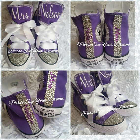 a52ebe6189e Personalized Custom Bridal Swarovski Crystal Wedding Converse ...