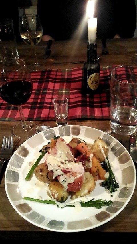 Dinner party. Scottish themed balmoral chicken, herb crushed potatoes, veg and whisky sauce