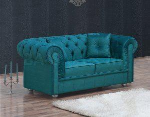Chesterfield Velvet Turquoise Loveseat